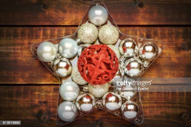 close-up of christmas decorations on table - per grunditz stock pictures, royalty-free photos & images