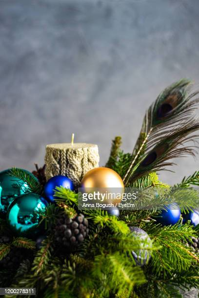close-up of christmas decorations - christmas decore candle stock pictures, royalty-free photos & images