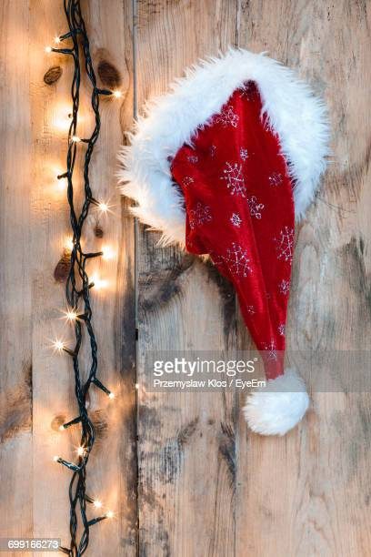 close-up of christmas lights - santa hat stock photos and pictures