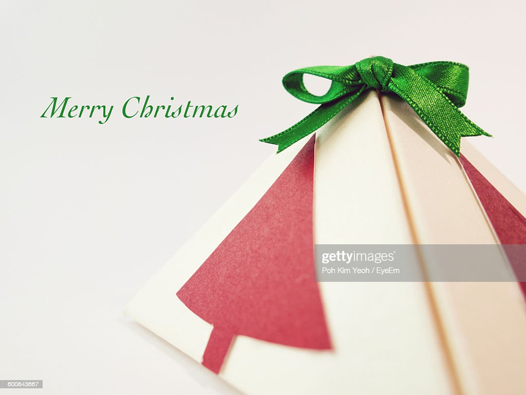 Closeup Of Christmas Present Against White Background Stock Photo ...