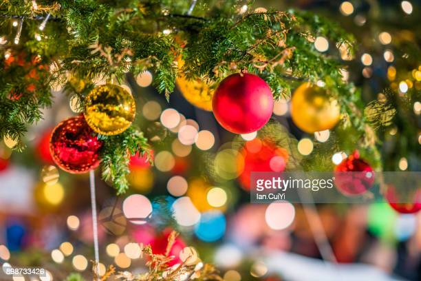 close-up of christmas tree - christmas scenes stock photos and pictures