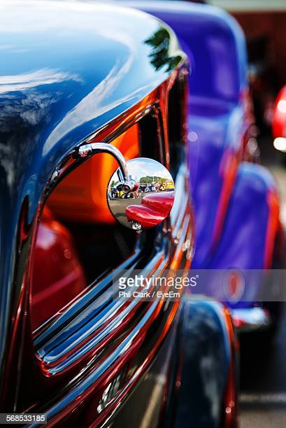 close-up of chrome side-view mirror on customized car - customized car stock pictures, royalty-free photos & images