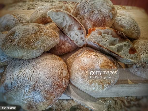 Close-Up Of Ciabatta Buns On Wood