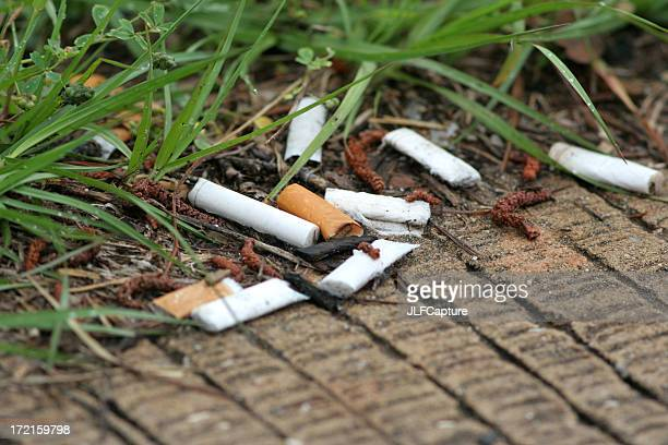close-up of cigarette butts lying on a grass lined walkway - cigarette stock pictures, royalty-free photos & images