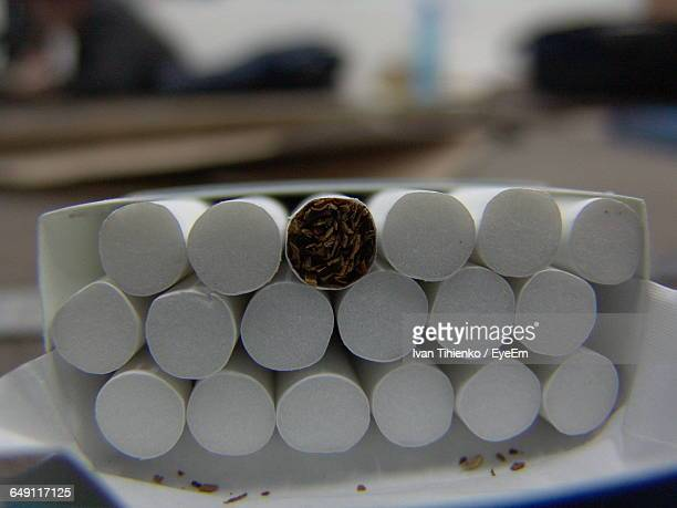 close-up of cigarettes in box - cigarette pack stock pictures, royalty-free photos & images