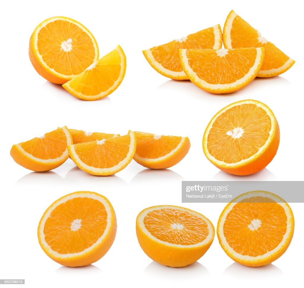 Close-Up Of Citrus Fruits Against White Background : Stock Photo