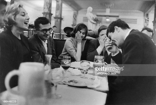 Close-Up Of Claude Chabrol. Dîner à la Coupole. Claude CHABROL tient tête au héros de son film 'Les cousins' : Jean-Claude BRIALY, l'amuseur de la...