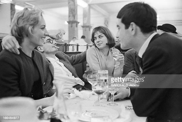 Close-Up Of Claude Chabrol. Mars 1959 Diner à la Coupole. Claude CHABROL tient tête au héros de son film 'Les cousins' : Jean-Claude BRIALY,...
