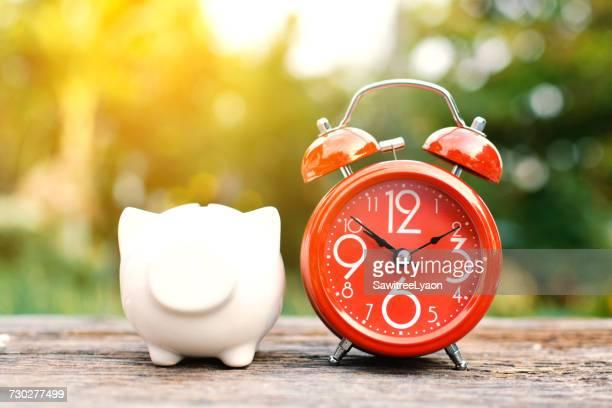 Close-Up Of Clock And Piggy Bank