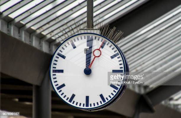 Close-Up Of Clock At Railroad Station