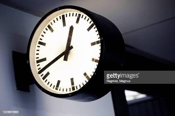 Close-up of clock at train station