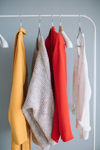 Close-Up Of Clothes Hanging On Rack - gettyimageskorea