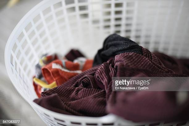 Close-Up Of Clothes In Laundry Basket