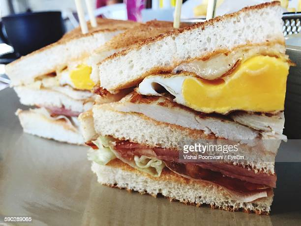 close-up of club sandwiches in plate - club sandwich stock pictures, royalty-free photos & images