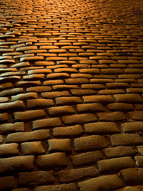 Close-up of Cobblestone Street at Night