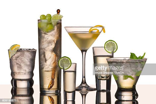 Close-Up Of Cocktails Over White Background