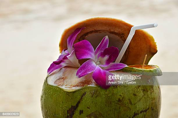 close-up of coconut and straw - coconut water stock pictures, royalty-free photos & images