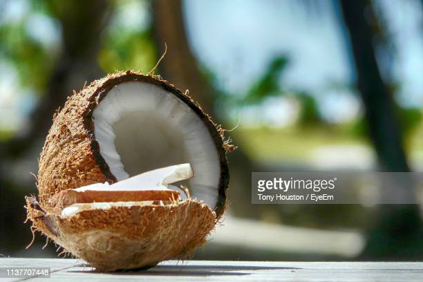 Close-Up Of Coconut On Table