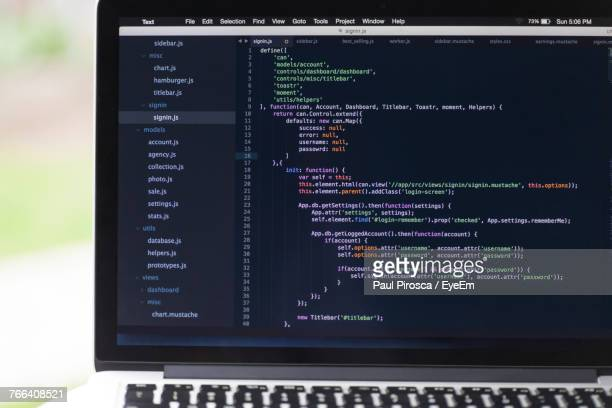 close-up of coding on laptop - coding stock pictures, royalty-free photos & images