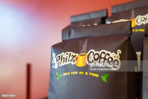 Closeup of coffee bags with logo at Philz Coffee a popular Californiabased pour over artisan coffee chain in the Gourmet Ghetto neighborhood of...
