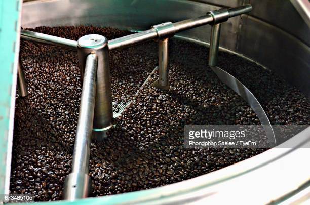 Close-Up Of Coffee Beans In Roasting Machine