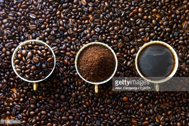close-up of coffee beans - ground coffee stock photos and pictures