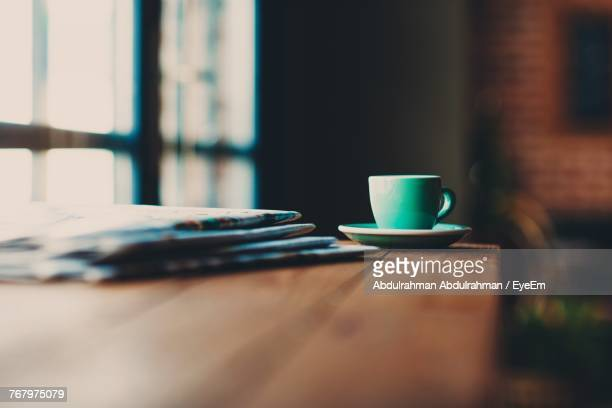 close-up of coffee cup on table - morning stock pictures, royalty-free photos & images