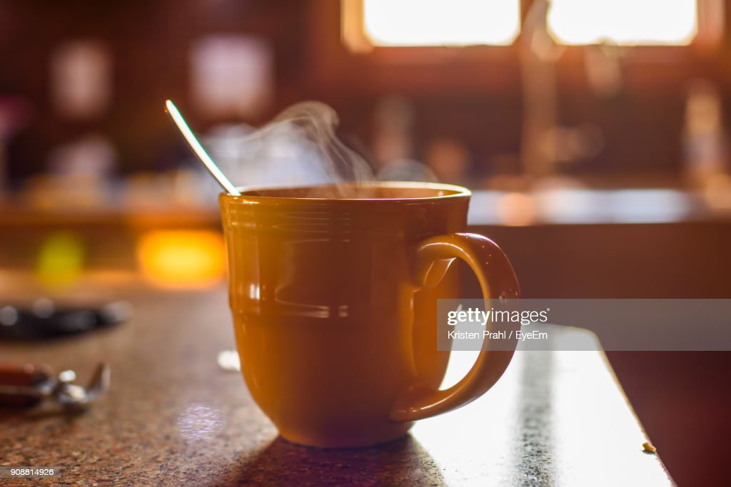 Close-Up Of Coffee Cup On Table : Stock Photo