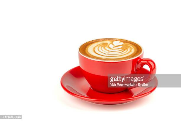 close-up of coffee cup on white background - coffee cup stock pictures, royalty-free photos & images