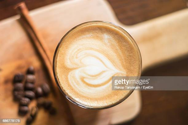 Close-Up Of Coffee On Cutting Board At Home