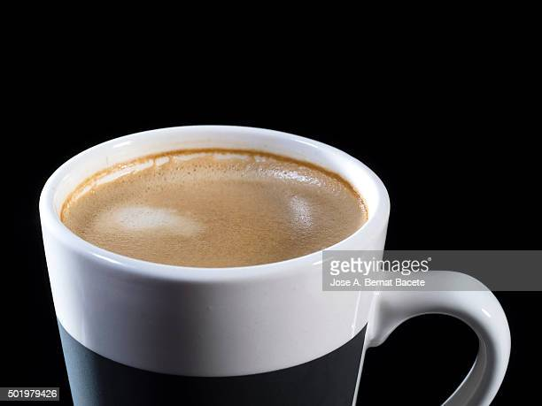Close-Up Of coffee with milk On Table