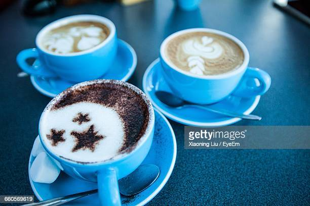 Close-Up Of Coffees On Table