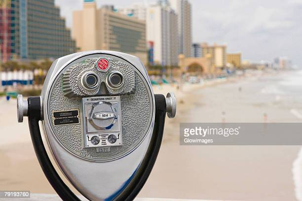 Close-up of coin operated binoculars, Daytona Beach, Florida, USA