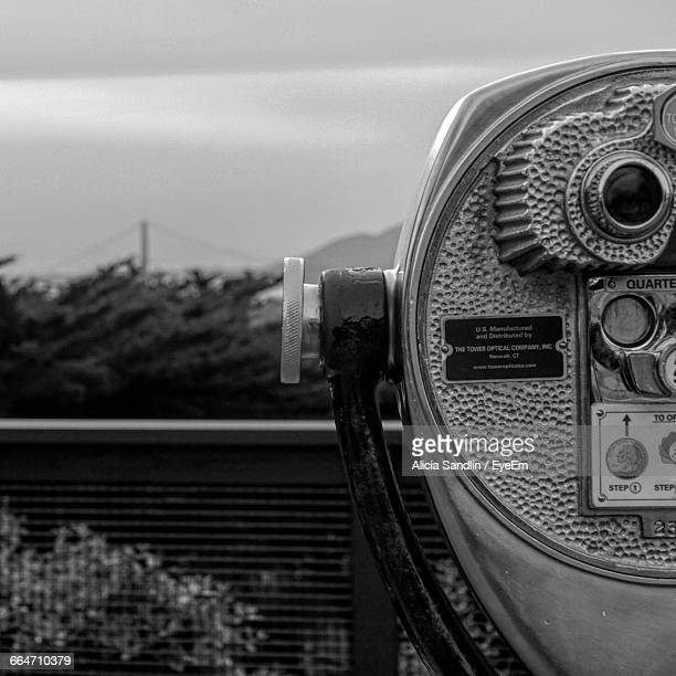 Close-Up Of Coin-Operated Binocular With Golden Gate Bridge In Background