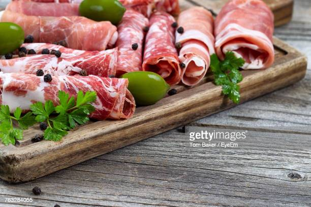 Close-Up Of Cold Cuts On Cutting Board