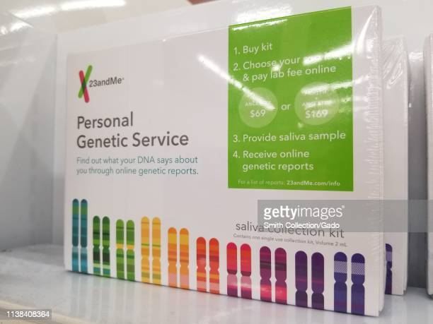 Closeup of collection kit for personal genomics technology company 23AndMe on a retail store shelf March 18 2019
