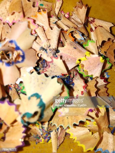 Close-Up Of Color Pencils Shavings On Table