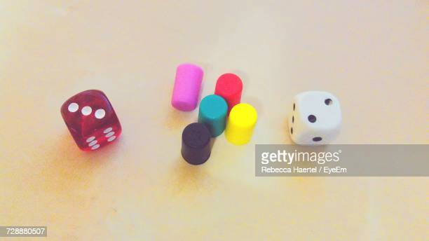 close-up of colored objects over white background - rebecca haertel stock-fotos und bilder