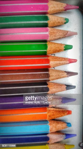 close-up of colored pencils on table - andres ruffo stock pictures, royalty-free photos & images
