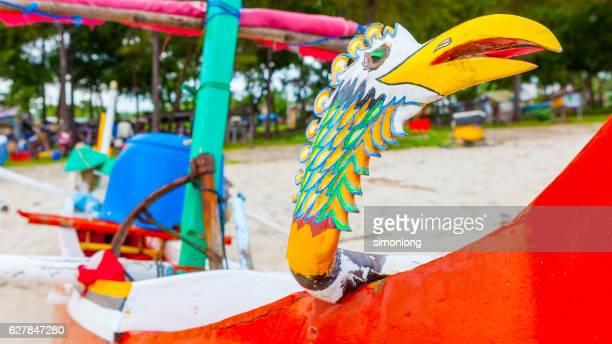 Closeup of colorful Bali Fishing Boats, Indonesia