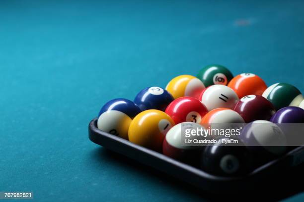 Close-Up Of Colorful Balls Arranged On Pool Table