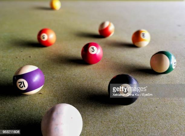 Close-Up Of Colorful Balls On Snooker Table
