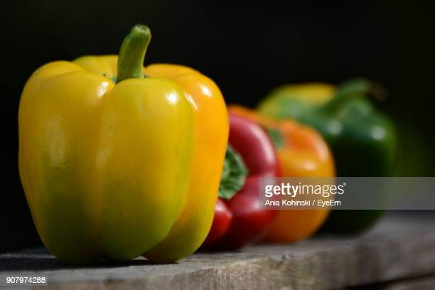 Close-Up Of Colorful Bell Peppers On Table
