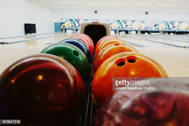Close-Up Of Colorful Bowling Balls