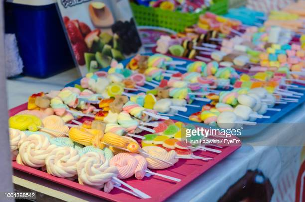 Close-Up Of Colorful Candies For Sale At Market Stall