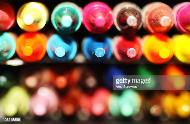 Closeup of colorful crayon tips in the box