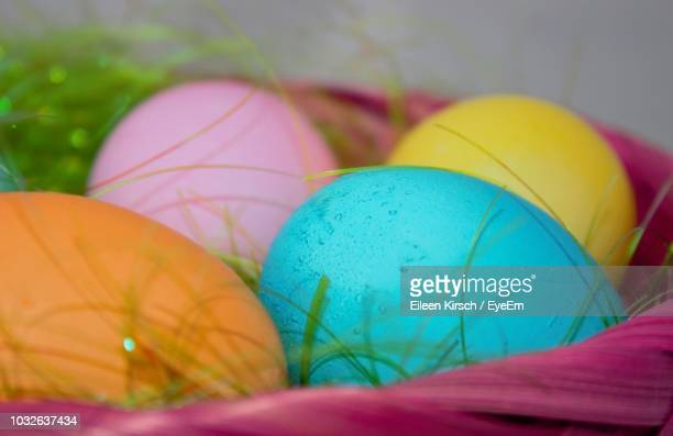 close-up of colorful easter eggs in container - eileen kirsch stock pictures, royalty-free photos & images