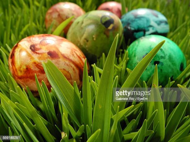 Close-Up Of Colorful Easter Eggs On Grass