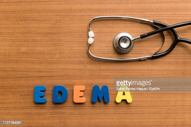 Close-Up Of Colorful Edema Text With Stethoscope On Wooden Table