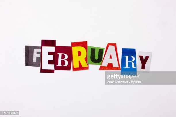 Close-Up Of Colorful February Text Over White Background